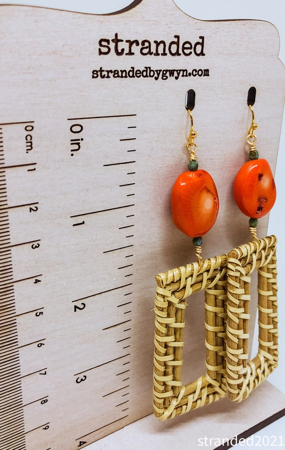 Coral and Rattan Earrings
