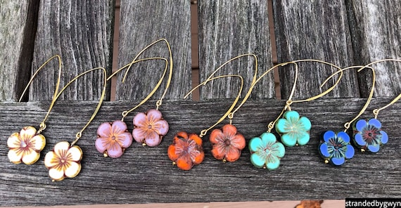 Glass Hibiscus Earrings