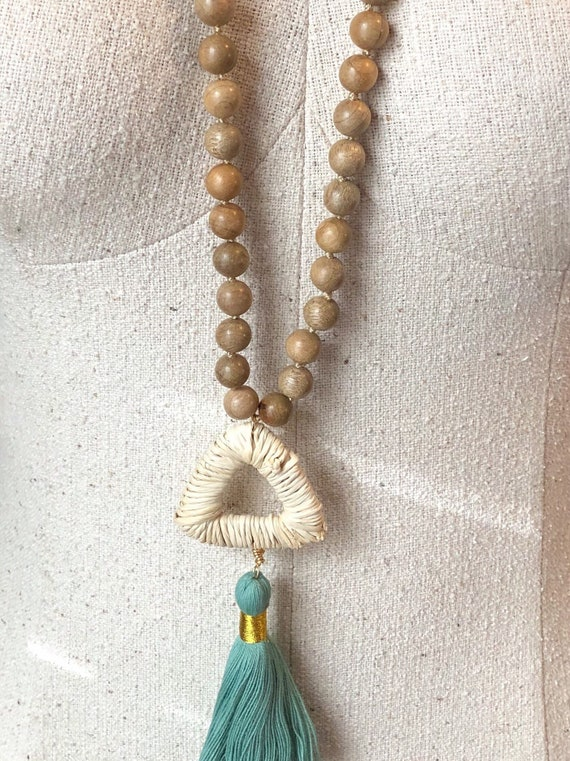 Wood and Rattan Tassel Necklace