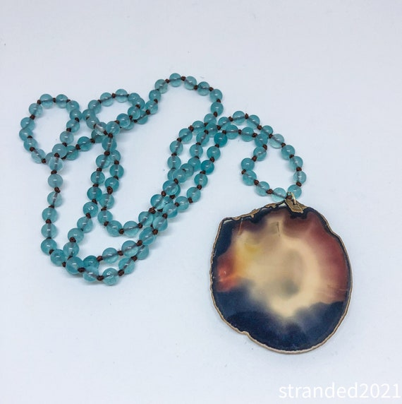 Dramatic Agate Slice and Glass Bead Necklace
