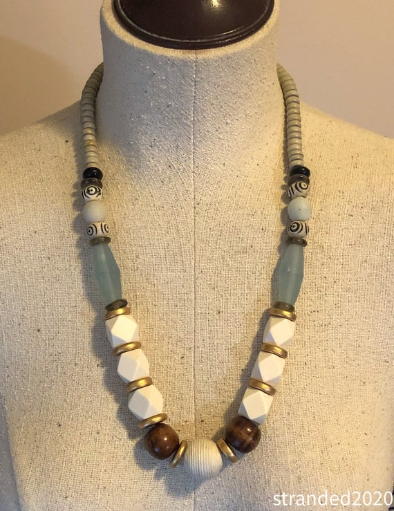 Wood, Resin and Bone Necklace