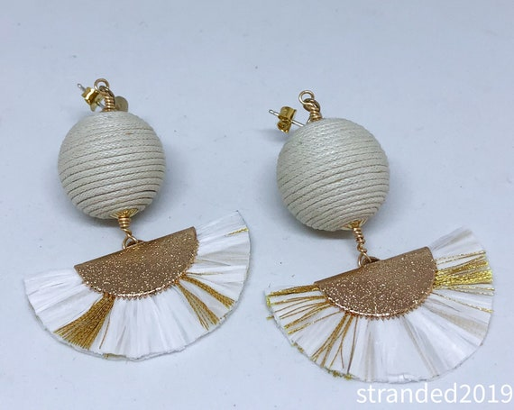 White Statement Tassel Earrings