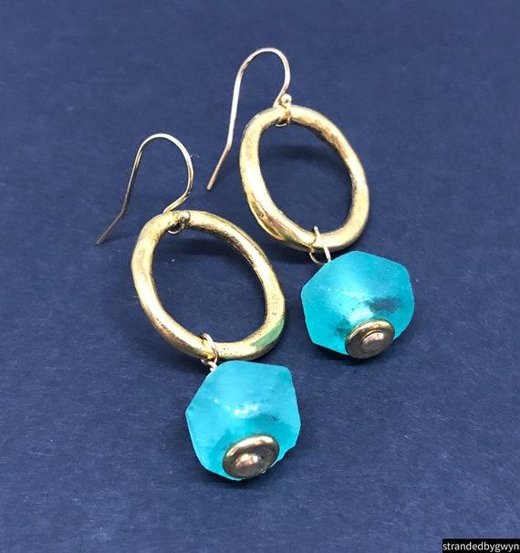Aqua Recycled Glass Earrings