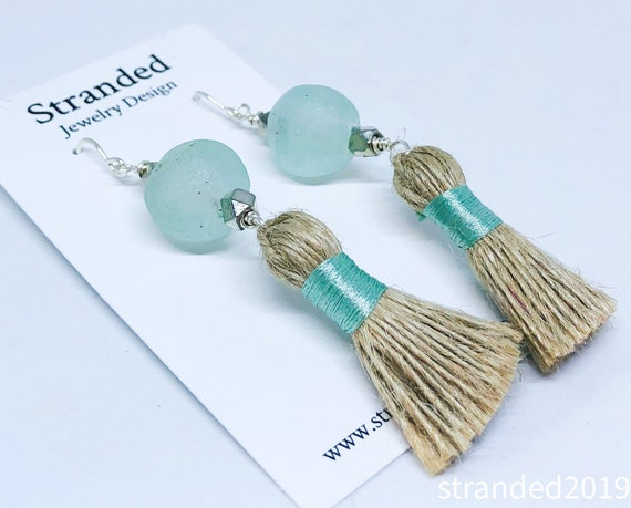 Recycled Glass and Jute Tassel Earrings