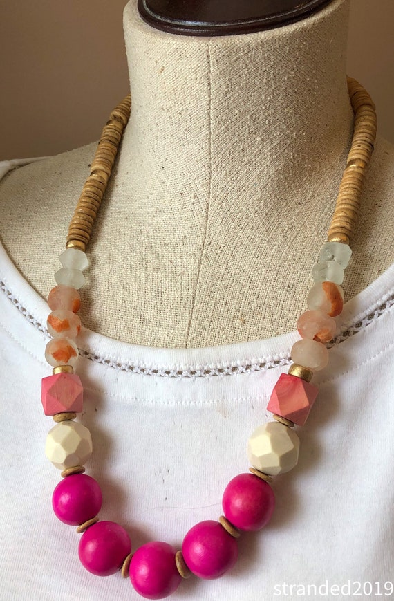 Chunky Pink Wood Necklace