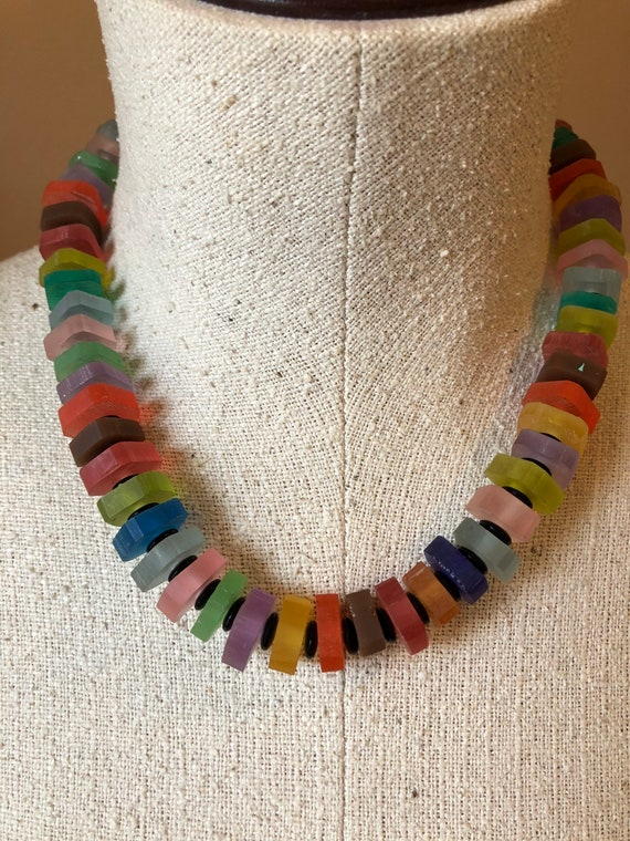 Rainbow Resin Cube Necklace