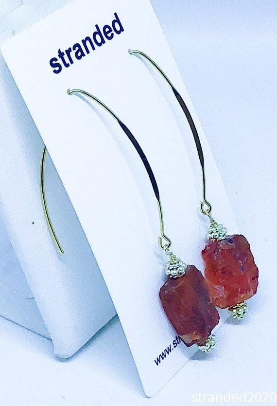 Persimmon Hammered Quartz Earrings