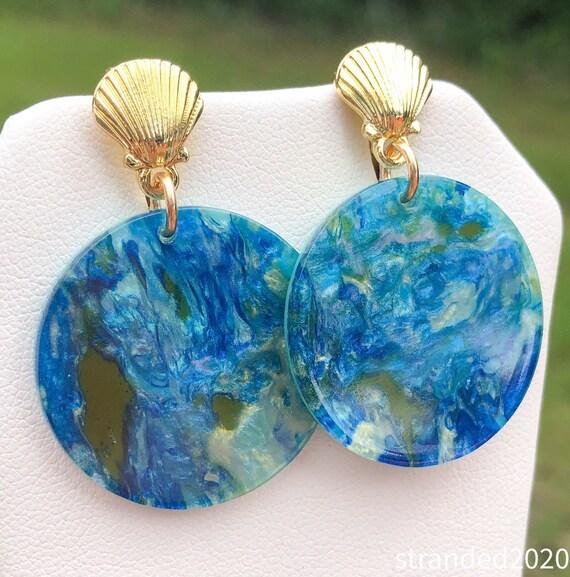 Blue Mosaic Acetate Earrings
