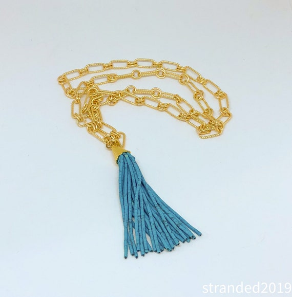 Turquoise Tassel and Gold Chain Necklace