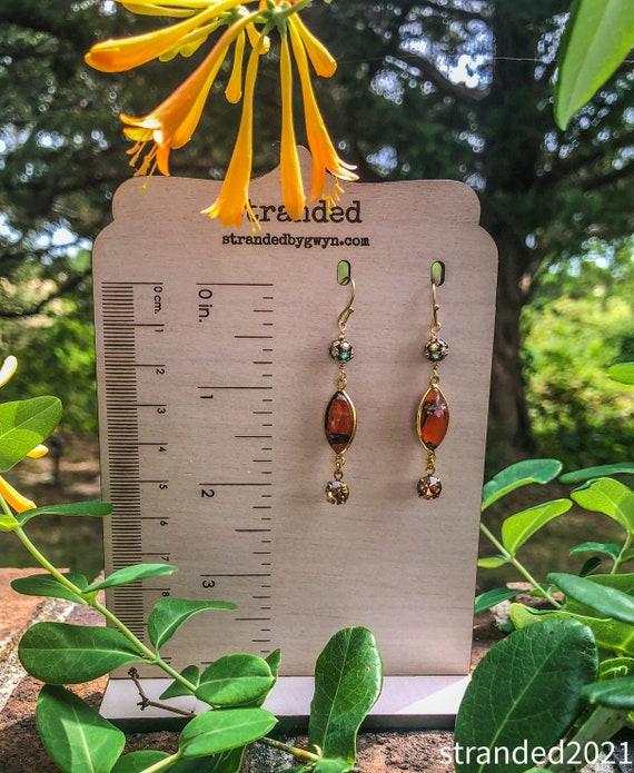 Orange Jasper and Swarovski Earrings