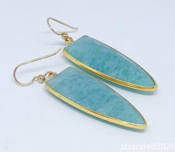 Amazonite  Shield Earrings