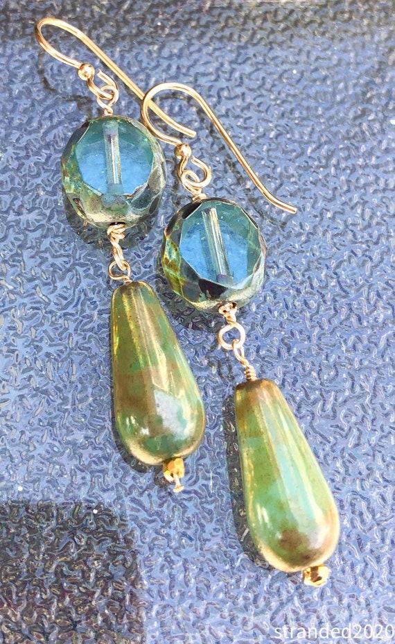 Ocean Czech Glass Earrings