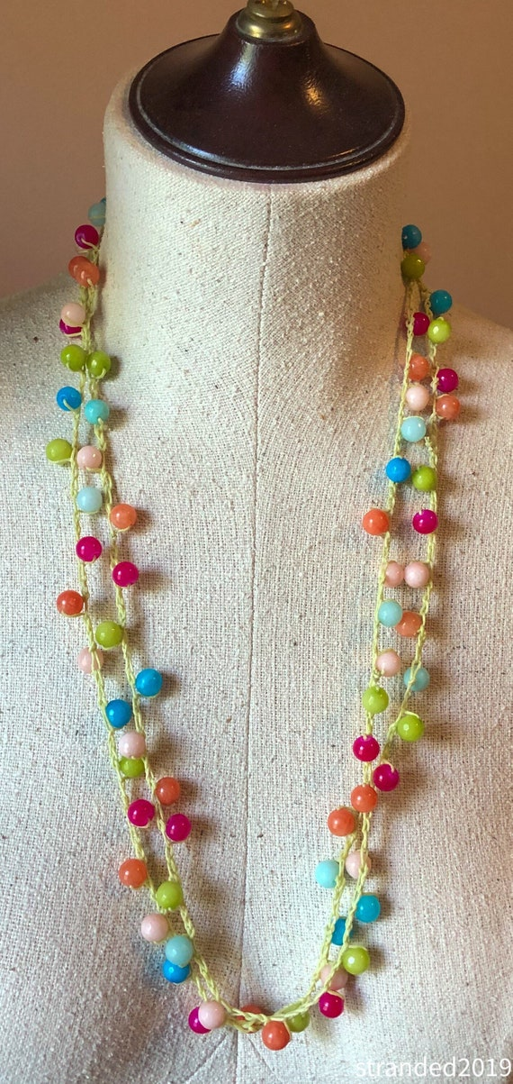 Crocheted Necklace with Dyed Jade Beads