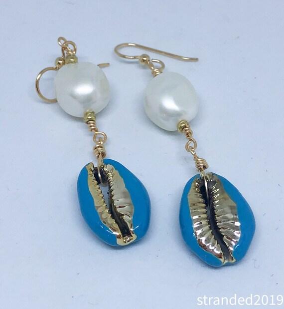 Enameled Cowrie Shell Earrings