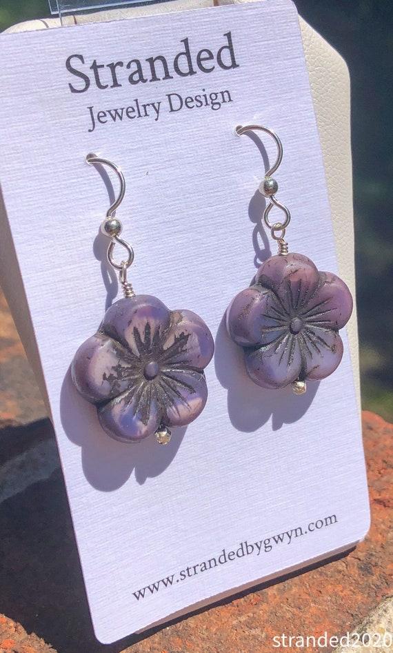 Purple Hibiscus Earrings