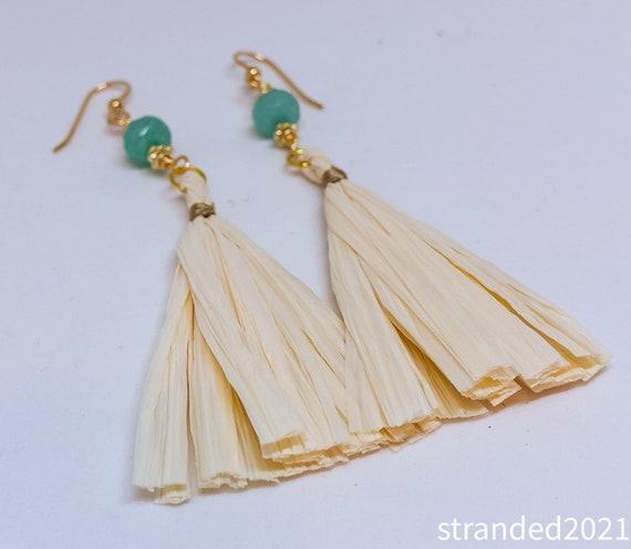 Dramatic Jade and Raffia Earrings