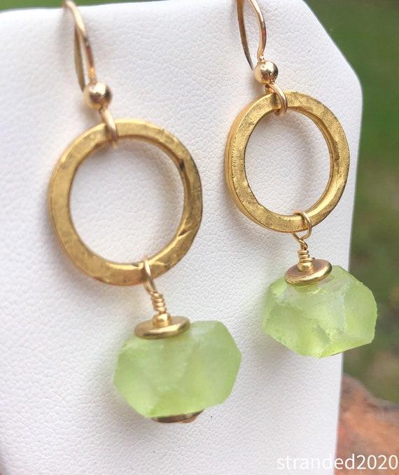 Recycled Glass Hoop Earrings