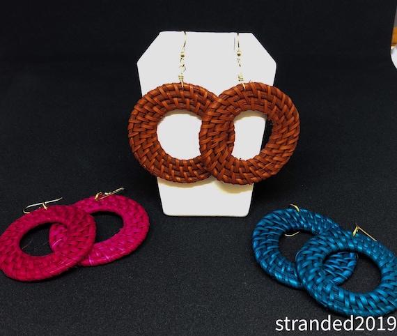 Autumn Rattan Hoop Earrings