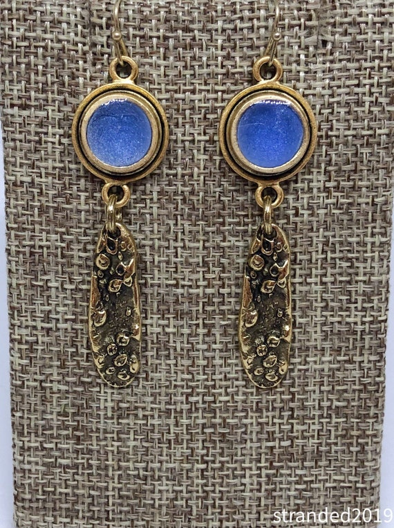 Blue Resin and Mussel Shell Earrings