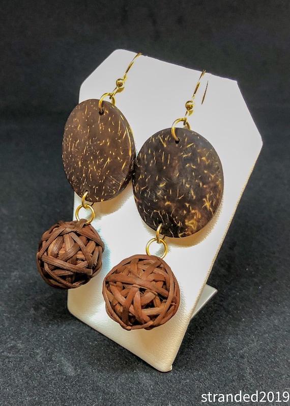 Coconut Shell and Raffia Earrings