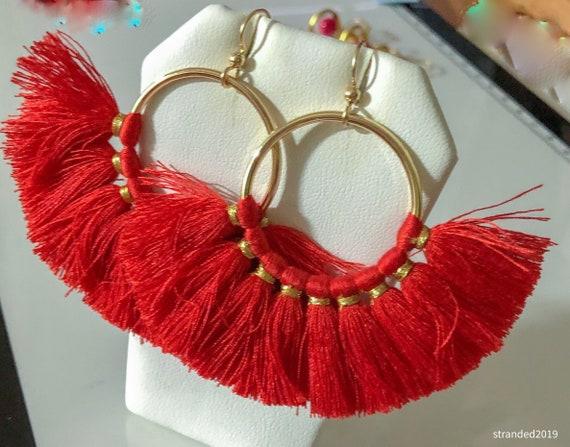 Unforgettable Red Tassel Earrings