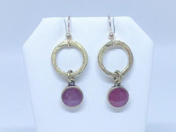 Red Resin Bezel and Gold Hoop earring