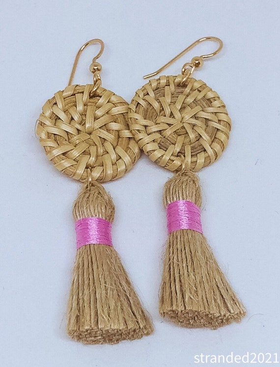 Rattan and Jute Tassel Earrings