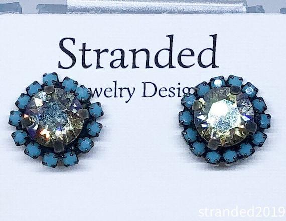 Black Diamond Swarovski Stud Earrings