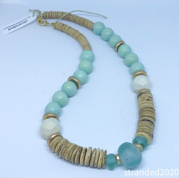 Wood and Recycled Glass Necklace