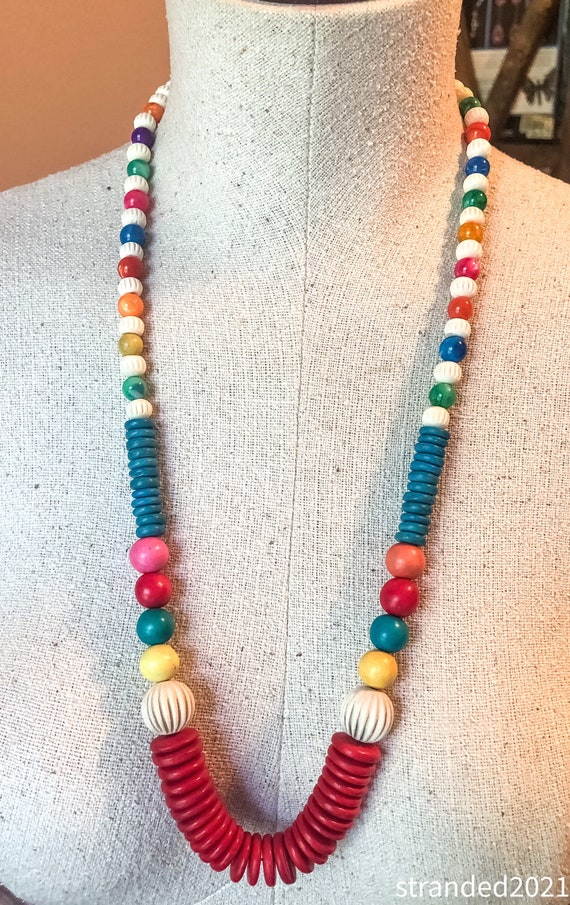 Colorful Wood and Mother of Pearl Necklace