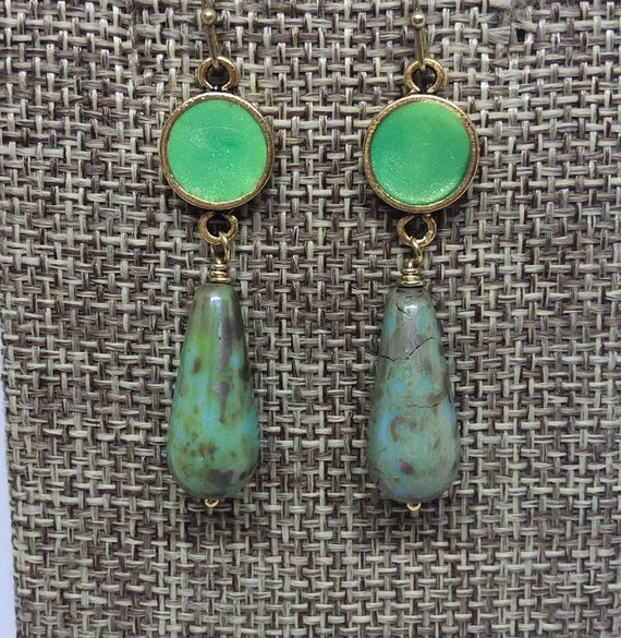 Green Resin and Picasso Glass Earrings