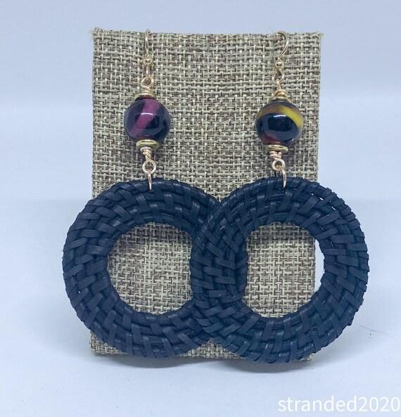 Black Rattan and Agate Earrings