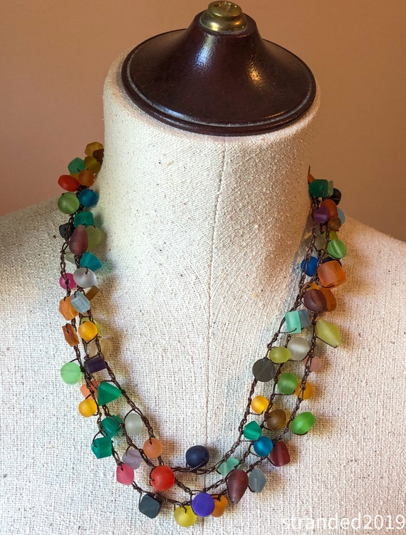 Hand-Crocheted Multi-Colored Resin Necklace