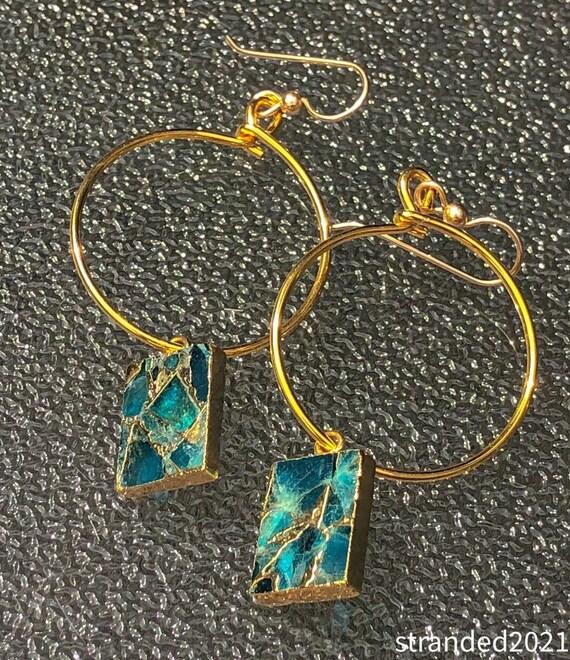 Jasper Mosaic Hoop Earrings