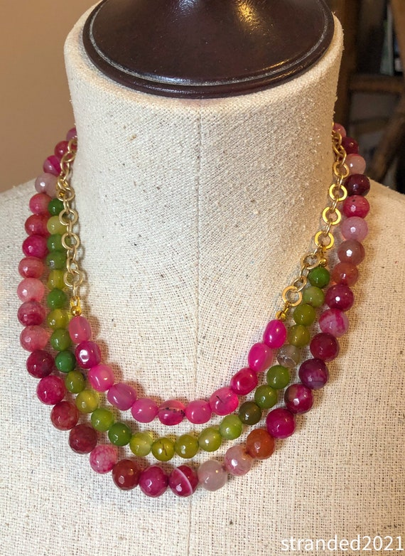 Multi-strand Agate Necklace