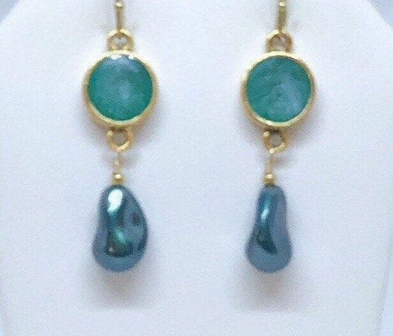 Green Pearl and Resin Earrings