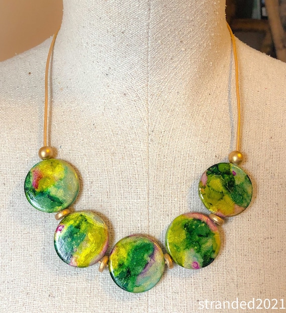 Hand Painted Wooden Disc Necklace