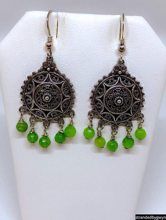 Bali Silver and Green Onyx Earrings