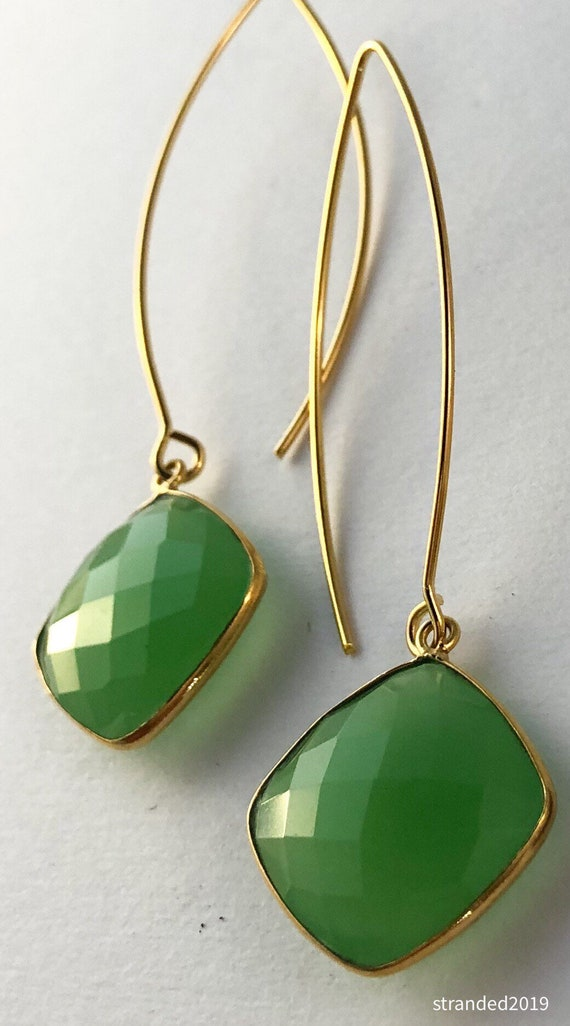 Green Chalcedony Drop Earrings