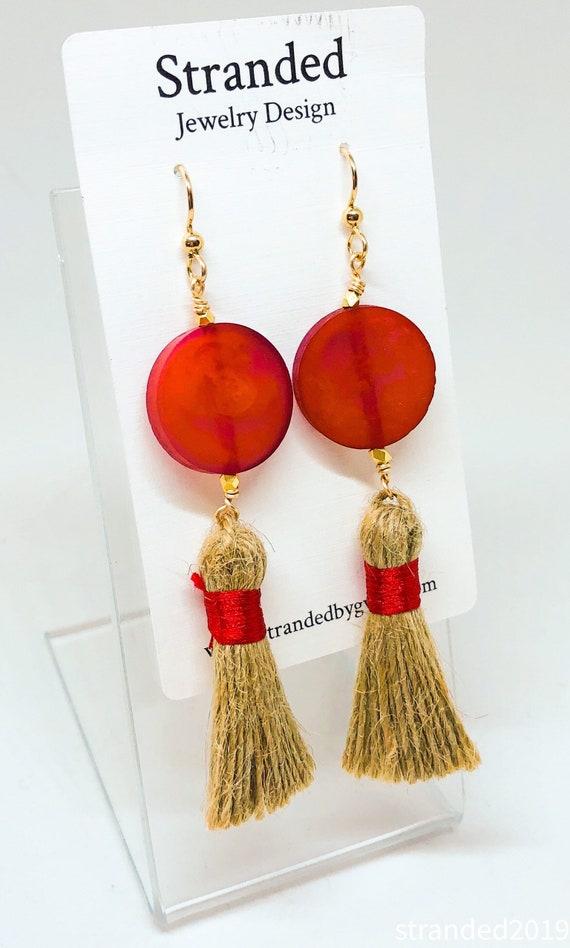 Red Resin and Jute Tassel Earrings
