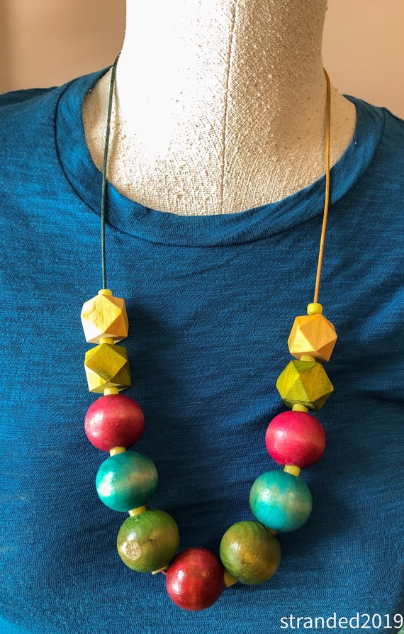 Chunky Wood Abacus Necklace