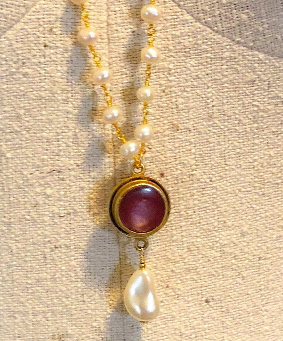 Red Resin Bezel and Freshwater Pearl Necklace II