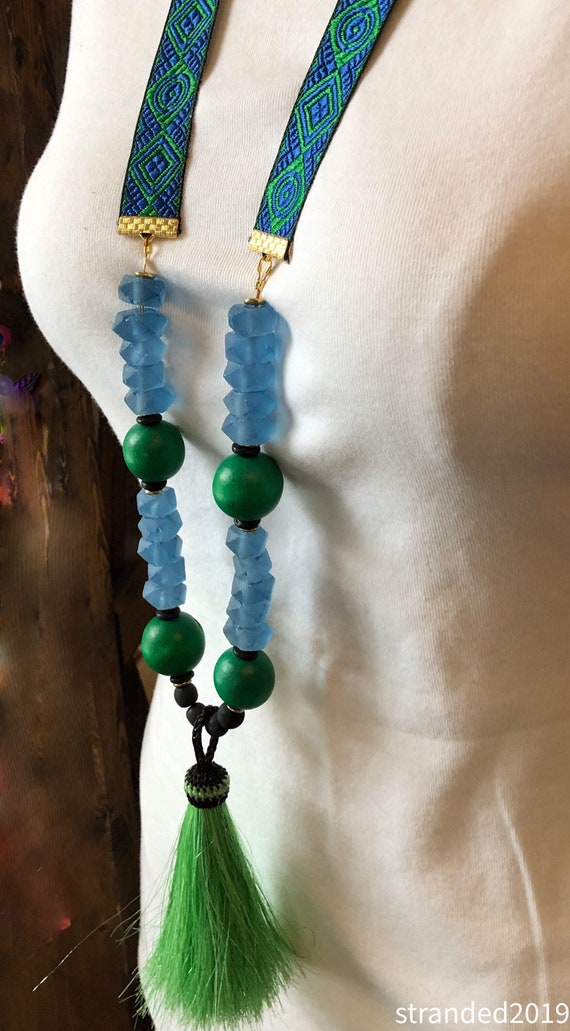 Blue and Green Glass, Wood and Tassel Ribbon Necklace