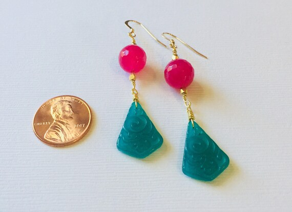 Vintage Carved Glass Earrings