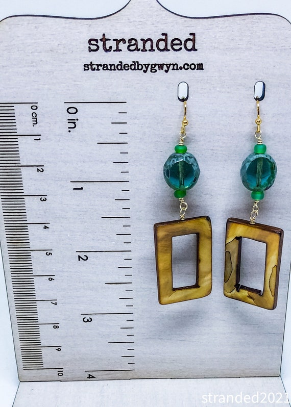 Sea Green Glass and MOP Earrings