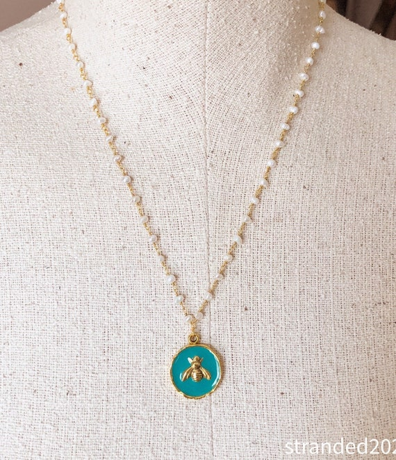 Teal Bee Charm and Freshwater Pearl Necklace