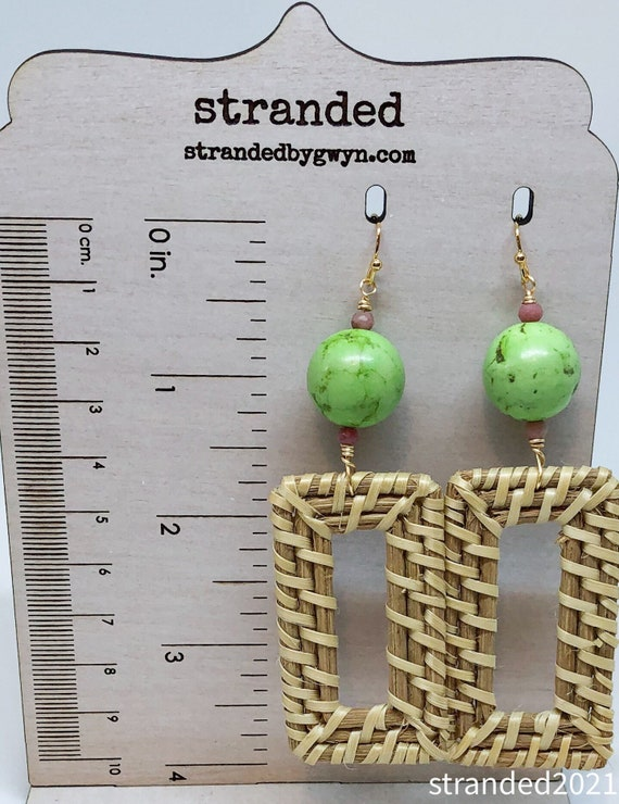 Green Howlite and Rattan Earrings