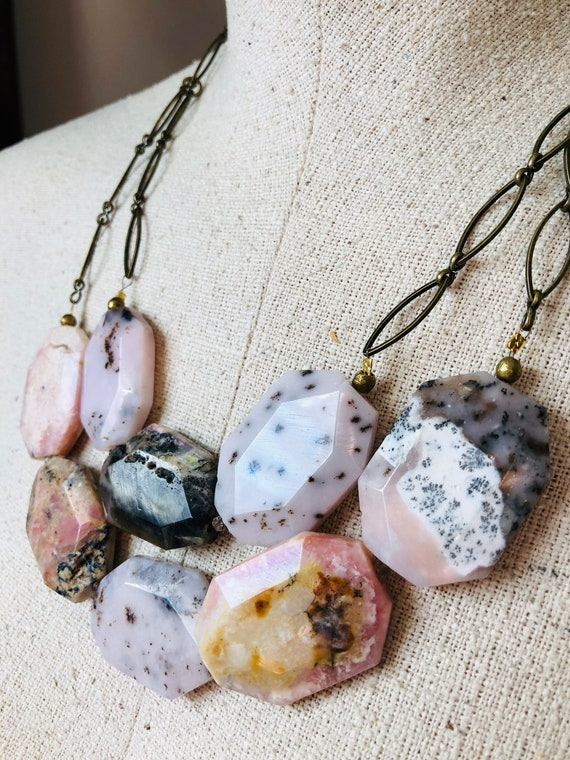 Pink Opal Slab Necklace