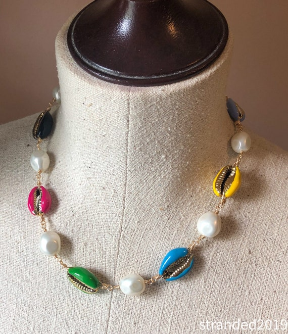 Enameled Cowrie Shell Necklace