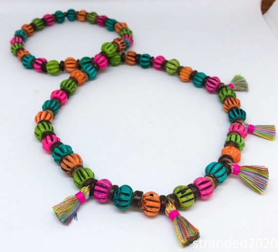 Colorful Bone Bead and Tassel Necklace